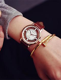お買い得  ファッションウォッチ-男性用 女性用 スポーツウォッチ ファッションウォッチ スケルトン腕時計 中国 クォーツ クロノグラフ付き カジュアルウォッチ レザー バンド カジュアル ブラック 白 ブラウン