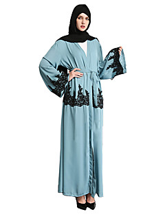 tanie Etniczne & Cultural Kostiumy-Moda Jalabiya Sukienka Kaftan Abaya Arabian Dress Damskie Festiwal/Święto Kostiumy na Halloween Green Jendolity kolor