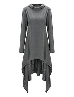 billige Pigesweaters og hættetrøjer-Dame Plusstørrelser Lang Hattetrøje - Ensfarvet