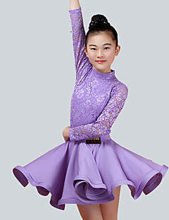 cheap Kids' Dancewear-Kids' Dancewear Outfits Children's Performance Nylon Lace Long Sleeve Natural Skirts Tops