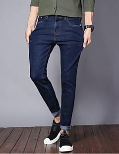 お買い得  メンズパンツ&ショーツ-男性用 コットン ジーンズ パンツ ソリッド