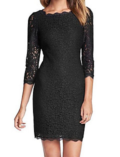 cheap Women's Dresses-Women's Vintage Sexy Sheath Lace Dress - Solid Colored, Lace Vintage Style Classic Style