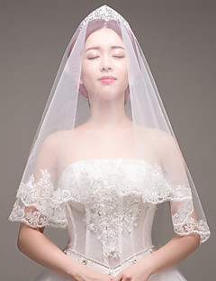 cheap Wedding Veils-One-tier Lace Applique Edge Bridal Wedding Wedding Veil Fingertip Veils 53 Laces Embroidery Lace Tulle