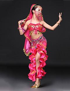 tanie Dziecięca odzież do tańca-Taniec brzucha Outfits Wydajność Spandeks Cekiny Falbany kaskadowe Bez rękawów Wypada Spódnice Biustonosz Pas Nakrycia głowy