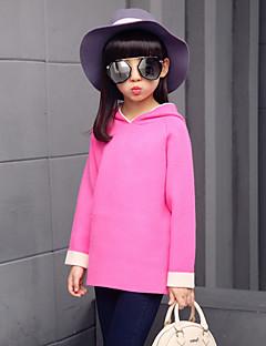 billige Sweaters og cardigans til piger-Pige Trøje og cardigan Ensfarvet, Bomuld Efterår Alle årstider Sødt Lyserød Grå Rosa