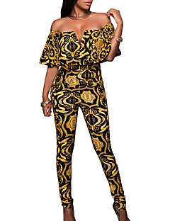 billige -Dame Blomstret Fargeblokk Enkel Vintage Sexy Kjeledresser,Skinny Daglig Ut på byen Kortermet Båthals Sommer Høst Polyester