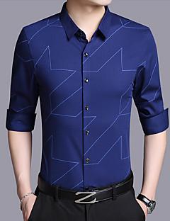 お買い得  メンズシャツ-男性用 プリント シャツ アジアン・エスニック