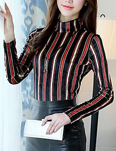 cheap Women's Tops-Women's Going out Boho T-shirt - Striped Turtleneck