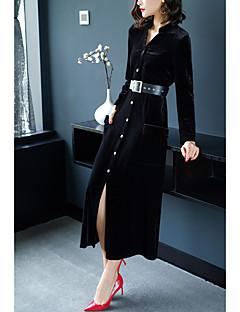 Χαμηλού Κόστους 9-5 Looks-Γυναικεία Κομψό στυλ street Μεγάλα Μεγέθη Παντελόνι - Μονόχρωμο Ψηλή Μέση Μαύρο / Μακρύ / Κολάρο Πουκαμίσου / Εξόδου