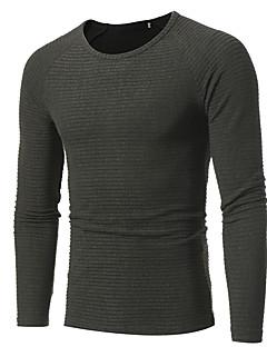 tanie Męskie swetry i swetry rozpinane-Męskie Praca Okrągły dekolt Długi Pulower Jendolity kolor