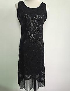 Vintage Gatsby Kostuum Vrouwelijk Feestkostuum Zwart Gouden Zilver Vintage Cosplay Lovertje  Mouwloos Koude schouder Tot de knie