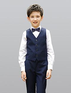 お買い得  子供用リングベアラースーツ-バーガンディー ブラック ダークネイビー コットン100% リングベアラースーツ - 4 含まれています ベスト シャツ パンツ 蝶ネクタイ