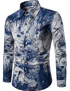 cheap Men's Shirts-Men's Linen Slim Shirt - Geometric Print Spread Collar / Long Sleeve
