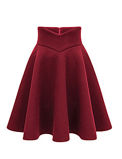 저렴한 -여성 단순한 무릎길이 스커트,A 라인 캐쥬얼/데일리 폴리에스테르 겨울 모든계절/가을 솔리드