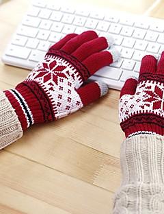 billige Vintertilbehør-Unisex Kontor Fritid Håndleddslengde Fingerspisser,Vinter Snøfnugg Strikketøy Brun Rød