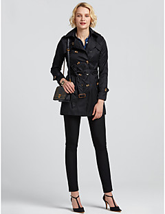 Damen Solide Einfach Lässig/Alltäglich Trenchcoat,Herbst Langarm Beige Schwarz Mittel Polyester