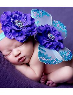 billige Sett med babyklær-Baby Unisex Tøjsæt Fødselsdag Trykt mønster, Polyester Alle årstider Uden ærmer Sødt Blå Lyserød Lilla