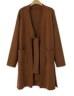 baratos Suéteres de Mulher-Mulheres Manga Longa Longo Carregam - Sólido / Outono / Inverno
