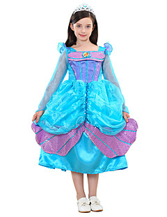 billige Halloweenkostymer-Prinsesse Cinderella Eventyr Kjoler Barne Halloween Festival / høytid Halloween-kostymer Turkis Havfrue Halloween