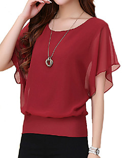 Women's Plus Size Summer T-shirt,Solid Round Neck Short Sleeves Polyester Thin