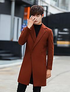 メンズ カジュアル/普段着 冬 秋 コート,シンプル ストリートファッション シャツカラー ソリッド ロング ウール ポリエステル 長袖