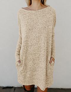 hesapli Sweater Dresses-Kadın's Parti Hafta sonu Kulüp Seksi Örgü İşi Diz üstü Elbise Solid Uzun Kollu Bahar Sonbahar Yuvarlak Yaka
