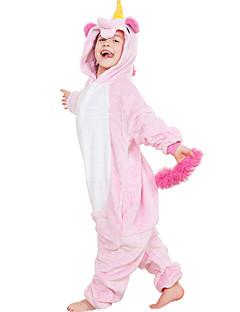 billige Kigurumi-Kigurumi-pysjamas Pegasus Enhjørning Onesie-pysjamas Kostume Flannelstoff Lilla Gul Regnbue Blå Rosa Cosplay Til Barne Pysjamas med