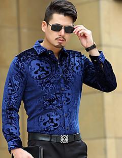 저렴한 -남성용 솔리드 셔츠 카라 긴 소매 셔츠,빈티지 캐쥬얼/데일리 폴리에스테르