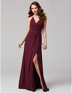 cheap Special Occasion Dresses-A-Line V Neck Floor Length Chiffon Formal Evening Dress with Sash / Ribbon Criss Cross by TS Couture®
