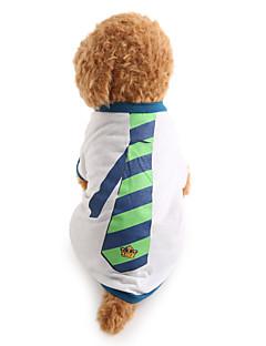 billiga Hundkläder-Hund T-shirt Hundkläder Rand Vit Cotton Kostym För husdjur Herr Semester Mode