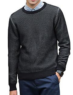 tanie Męskie swetry i swetry rozpinane-Męskie Praca Aktywny Moda miejska Okrągły dekolt Pulower Jendolity kolor Długi rękaw