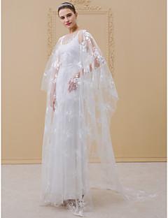 billiga Plusstorlek brudklänningar-Åtsmitande Illusion Halsband Svepsläp Stretchig satäng / Genomskinlig spets Bröllopsklänningar tillverkade med Applikationsbroderi av LAN