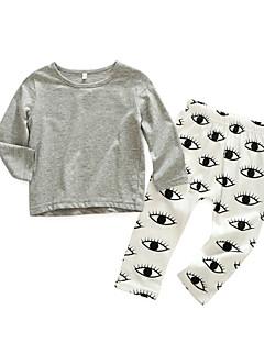 billige Sett med babyklær-Baby Pige Tøjsæt Daglig Trykt mønster, Bomuld Forår Langærmet Simple Grå