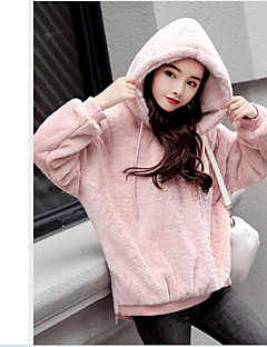 Women's Plus Size Casual/Daily Simple Hoodie Solid Hooded Without Lining Micro-elastic Others Long Sleeve Winter Fall