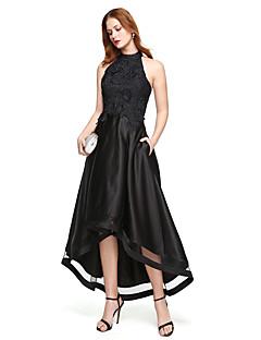 A-라인 쥬얼리 비대칭 레이스 새틴 홈 커밍 포멀 이브닝 드레스 와 레이스 주름 으로 TS Couture®
