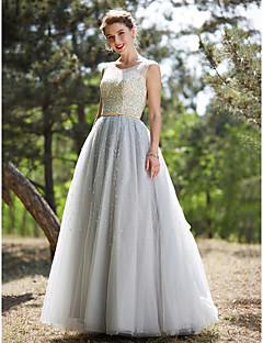 볼 드레스 환상 목걸이 바닥 길이 튤 포멀 이브닝 드레스 와 비즈 허리끈/리본 스팽글 으로 Huaxirenjiao