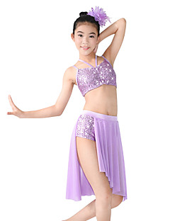 cheap Latin Dance Wear-Ballet Latin Dance Jazz Outfits Women's Children's Stage Spandex Elastic Mesh Sequined Paillette Split Flower Criss Cross Sleeveless