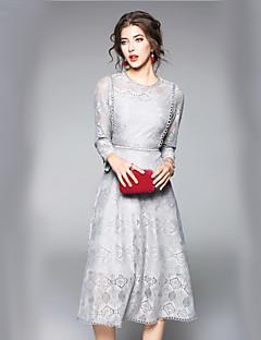preiswerte Designerkollektionen-Damen Arbeit Schlank A-Linie Kleid Solide Einfarbig Maxi