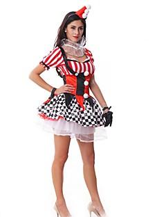 billige Voksenkostymer-Burlesk / Klovn Cosplay Kostumer Dame Halloween Festival / høytid Halloween-kostymer Rød Pledd / Tern
