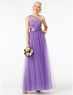 cheap Purple Passion-A-Line Princess One Shoulder Ankle Length Tulle Corded Lace Bridesmaid Dress with Appliques Sash / Ribbon Pleats by LAN TING BRIDE®