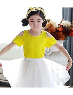 cheap Girls' Tops-Girls' Solid Tee, Polyester Summer Short Sleeves Yellow