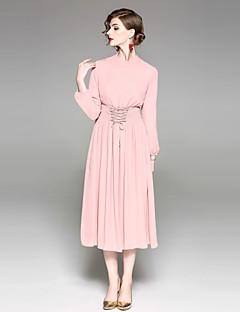 Χαμηλού Κόστους EWUS-Γυναικεία Εξόδου Κομψό στυλ street Θήκη Φόρεμα - Μονόχρωμο Μίντι