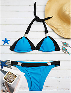 billige Bikinier og damemote 2017-Dame Store størrelser Grime Trekant Bikini Cheeky Fargeblokk Svart og hvit