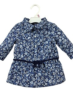 billige Babyoverdele-Baby Pige Skjorte Daglig Blomstret, Bomuld Langærmet Afslappet Blå