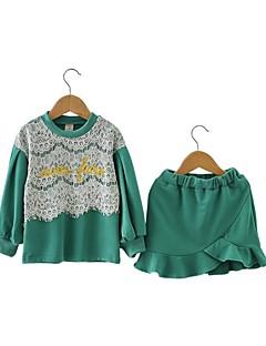 billige Tøjsæt til piger-Pige Tøjsæt Daglig Ensfarvet, Bomuld Polyester Forår Langærmet Afslappet Grøn