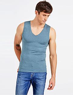 billige Herremote og klær-Herre Elastisk Underskjorte Medium-Ensfarget Polyester 1pc Grønn Grå Lyseblå Kakifarget