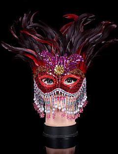 billige Halloweenkostymer-Prinsesse Masquerade Mask Rød Fjær Cosplay-tilbehør Maskerade
