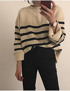 baratos Suéteres de Mulher-Mulheres Manga Longa Pulôver - Listrado
