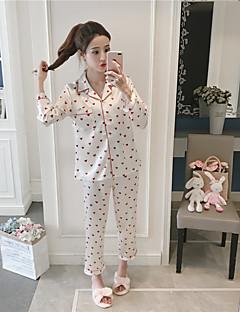 billige Moteundertøy-Dame Skjortekrage Dress Pyjamas - Polkadotter, Trykt mønster
