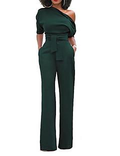tanie Kombinezony damskie-Damskie Urlop Wyrafinowany styl Bawełna Kombinezon - Jendolity kolor, Kokarda Na jedno ramię Spodnie szerokie nogawki